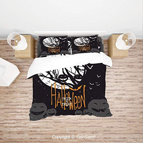 FashSam Duvet Cover 4 Pcs Comforter Cover Set Halloween Themed Image with Full Moon and Jack o Lanterns on a Tree Decorative for Boys Grils Kids(Double)]()