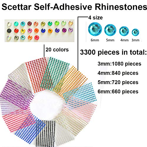 Scettar Self-Adhesive Rhinestones Bulk Pack Assorted 3300PCS - 20 Colors, 4 Sizes Gems Acrylic Craft Jewels Crystal Gem Stickers Flatback Gemstone Embellishments Will Stick on Anything -