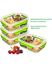 PREMIUM QUALITY(4 PACK SET)Tritan 1040 ML 2 Compartment Glass Lunch box/Food Storage Containers - Meal Prep Glass Containers Set- Reusable Microwave ,Oven, Freezer & Dishwasher Safe BPA Free Lunch Containers with Smart For Snap Locking Tritan Lid Guarantee 100% Airtight Leakproof