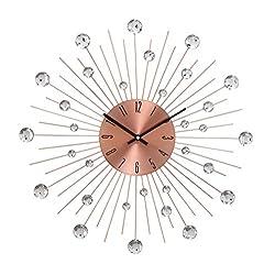 Benzara 85523 Deco 79 Modern Round Metal Burst Design Wall Clock with Bead Accents, 20 Diameter, Copper Finish