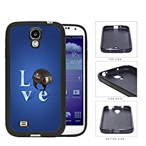 Love Air Force Brown Helmet with Royal Blue Background Samsung Galaxy S4 I9500 Rubber Silicone TPU Cell Phone Case