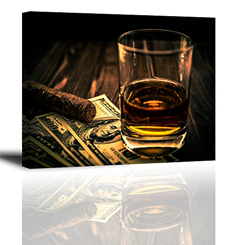 "Cigar and Wine Wall Art for Bar, PIY Whiskey Canvas Painting Prints Artwork (Waterproof Home Decor, 1"" Thick, Bracket Mounted Ready to Hang) by Piy Painting"
