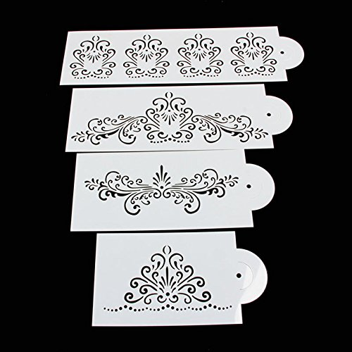 Delight eShop Lace Flower Cake Cookie Fondant Side Baking Wedding Stencil Decorating DIY Tools (#4)