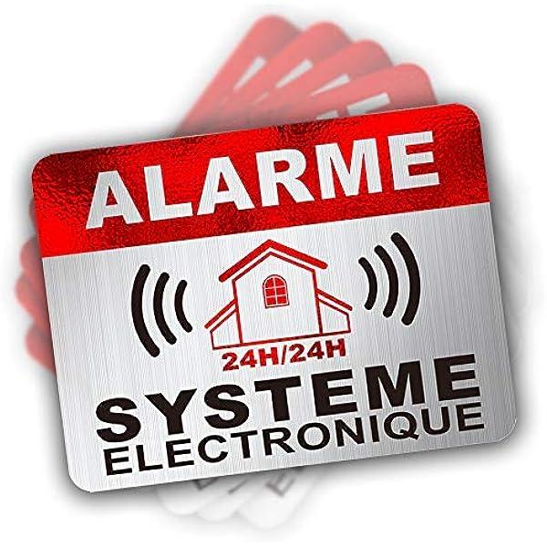 Pegatinas de alarma de seguridad, 6 x 8 cm, 12 unidades: Amazon.es: Bricolaje y herramientas
