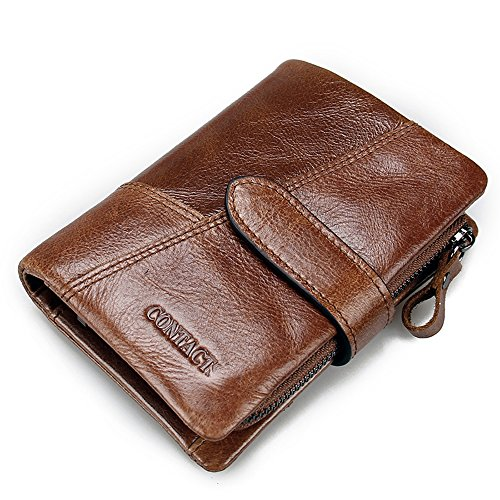 Zip Pouch Wallet (Contacts Mens Genuine Leather Bifold Trifold Card Holder Zip Coin Purse Wallet Brown)