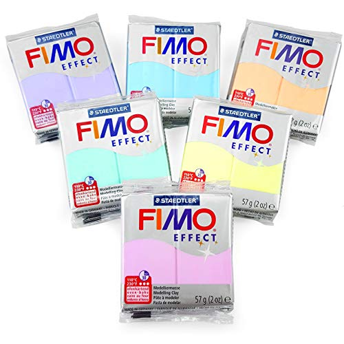 - FIMO Effect Polymer Oven Modelling Clay - 6 x 2 oz Blocks - Set of 6 - Pastel Finish