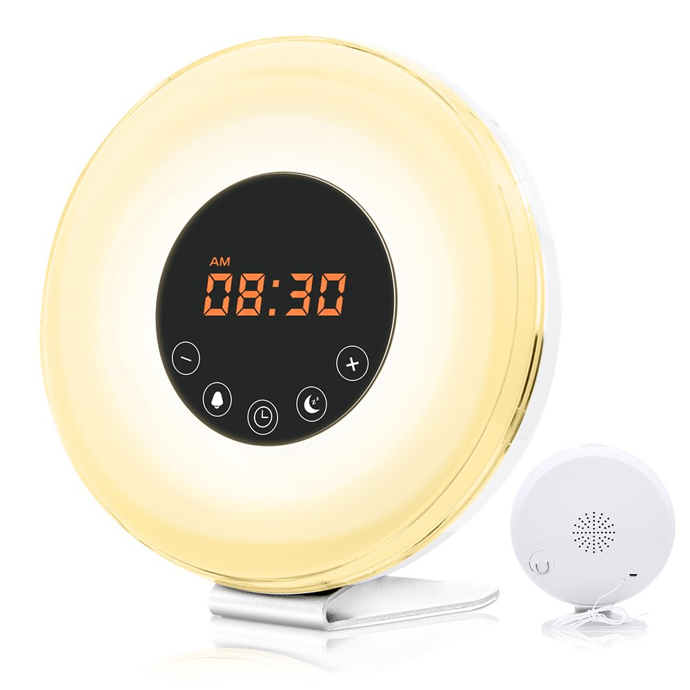 Alarm Clock, GRDE Wake up Light Electronic Alarm Radio Clock with 7 Sounds Sunrise& Sunset Simulation 7 Colors LED Bedside Lamp Night Light with Snooze, FM Radio, Touch Control and USB Charger