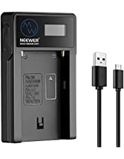 Neewer Micro USB Caricabatteria per Sony NP-F550 / F750 / F960 / F970, NP-FM50 / FM70 / FM90, QM71D, 91D, NP-F500H / F55H Batterie