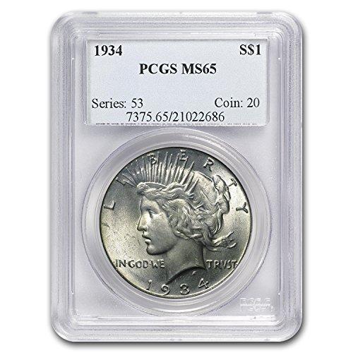 1934 Peace Dollar MS-65 PCGS $1 MS-65 - Five Dollar 1934