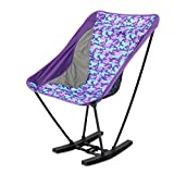 TTnight Aluminum Folding Rocketing Chair with Bag for Camping Picnic Beach, Purple