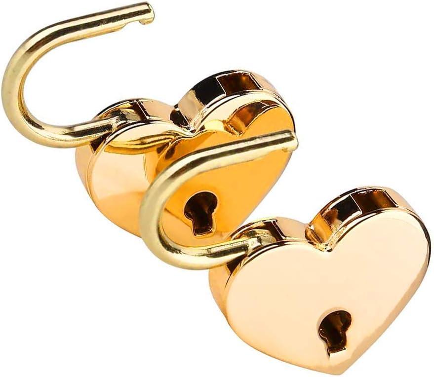 5Pcs Heart Shaped Padlock Heart Metal Padlock Mini Heart with Key for Jewelry Box Storage Box Diary Luggage Handbag Gifts Silver Golden