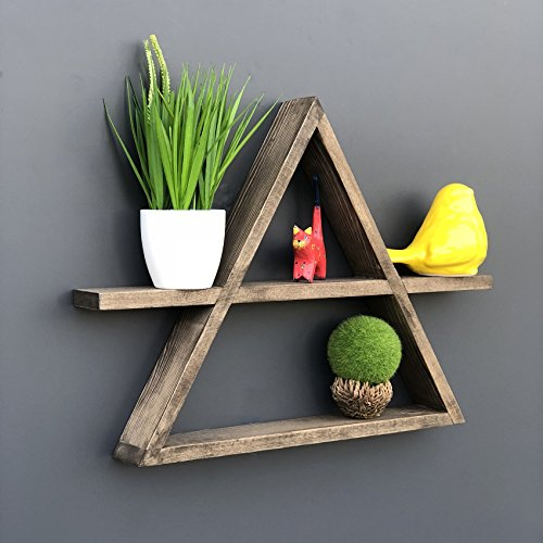 LaModaHome Wall Shelf Wall Mountable with Invisible Brackets Easy to Hang Wooden Triangle Geometrical Wall Vase Trinket Design 100% Solid Wood Handmade Size (18.5