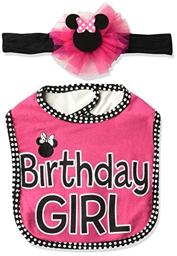 Disney Baby Character, Minnie Birthday Girl bib/Headband Set 0-12 Months