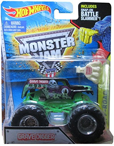 Hot Wheels Monster Jam 2015 Off-Road Grave Digger (with Snap-On Battle Slammer) 1:64 Scale, Black and Green