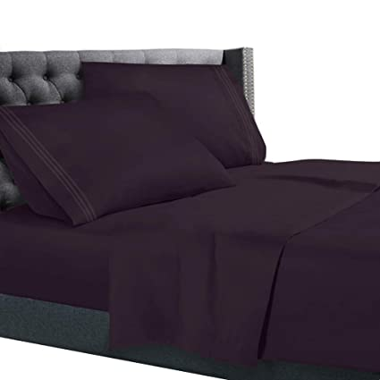 Queen Size Bed Sheets Set Purple, Bedding Sheets Set On Amazon, 4 Piece