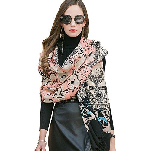 DANA XU 100% Pure Wool Women Scarf Large Size Pashmina (Purple) ()