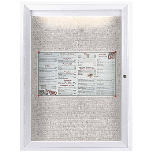 TableTop King ODCC2418RIW 24'' x 18'' Enclosed Hinged Locking 1 Door Powder Coated White Outdoor Lighted Bulletin Board Cabinet by TableTop King