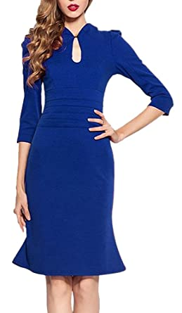 HOMEYEE Womens Celebrity Vintage Puff Tunic Prom Pencil Dress K823 (20, Blue)