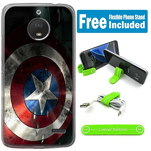 [Ashley Cases] for Moto [G6] [NOT for G6 Play or Plus!!] Cover Case Skin with Flexible Phone Stand - Captain America Shield Side