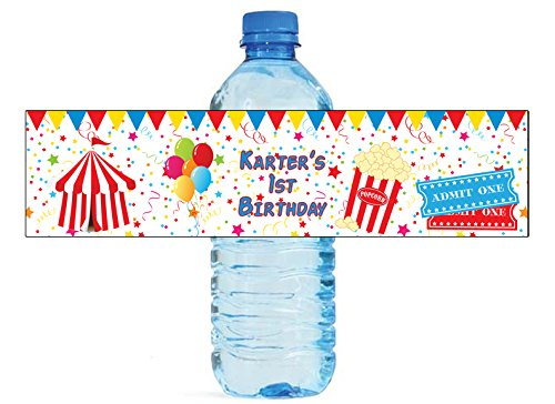 Circus Party Fun Birthday Party Water Bottle Labels, easy to use, self stick (Carnival Water)