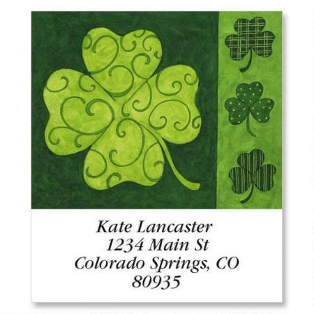 - Personalized Clover Collage Square St. Patrick's Day Address Labels - Set of 144 Self-Adhesive, Flat-Sheet Irish labels