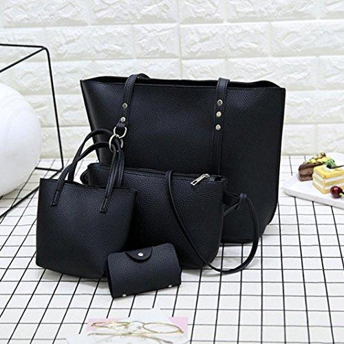 Handbag,Duseedik 2018 Fasion Women Pattern Leather Shoulder Bag+Crossbody Bag+Handbag+Wallet Designer Leather 4pc Bags Sets (Black)