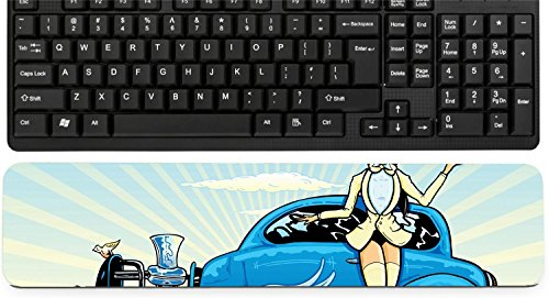 (Liili Keyboard Wrist Rest Pad Long Extended Arm Supported Mousepad Hotrod To Heaven kustom culture style pin up illustration Photo 4677791)