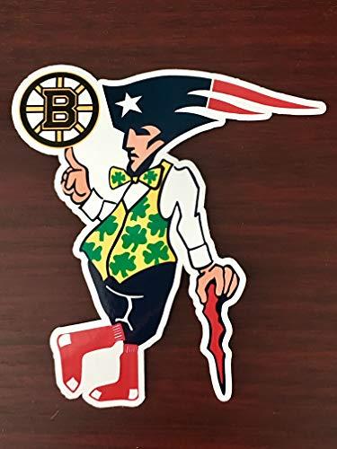 Boston Guy Sports Teams Patriots Celtics Red Sox Bruins Mash Up Laptop iPad Car Window Vinyl Sticker Decal