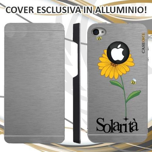 CUSTODIA COVER CASE CASEONE GIRASOLE SOLARITA PER IPHONE 4S ALLUMINIO TRASPARENTE