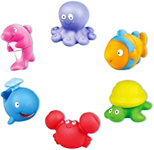 Seckton Pool Toys for 1-3 Year Old Girls Boys Ocean Bath Toys Assembly Model Set for Toddlers Kids Gifts Summer Party Favors(6 Pack)