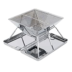 BBQ Grill Net Stainless Steel Barbecue Stove Outdoor Folding Portable Barbecue Rack