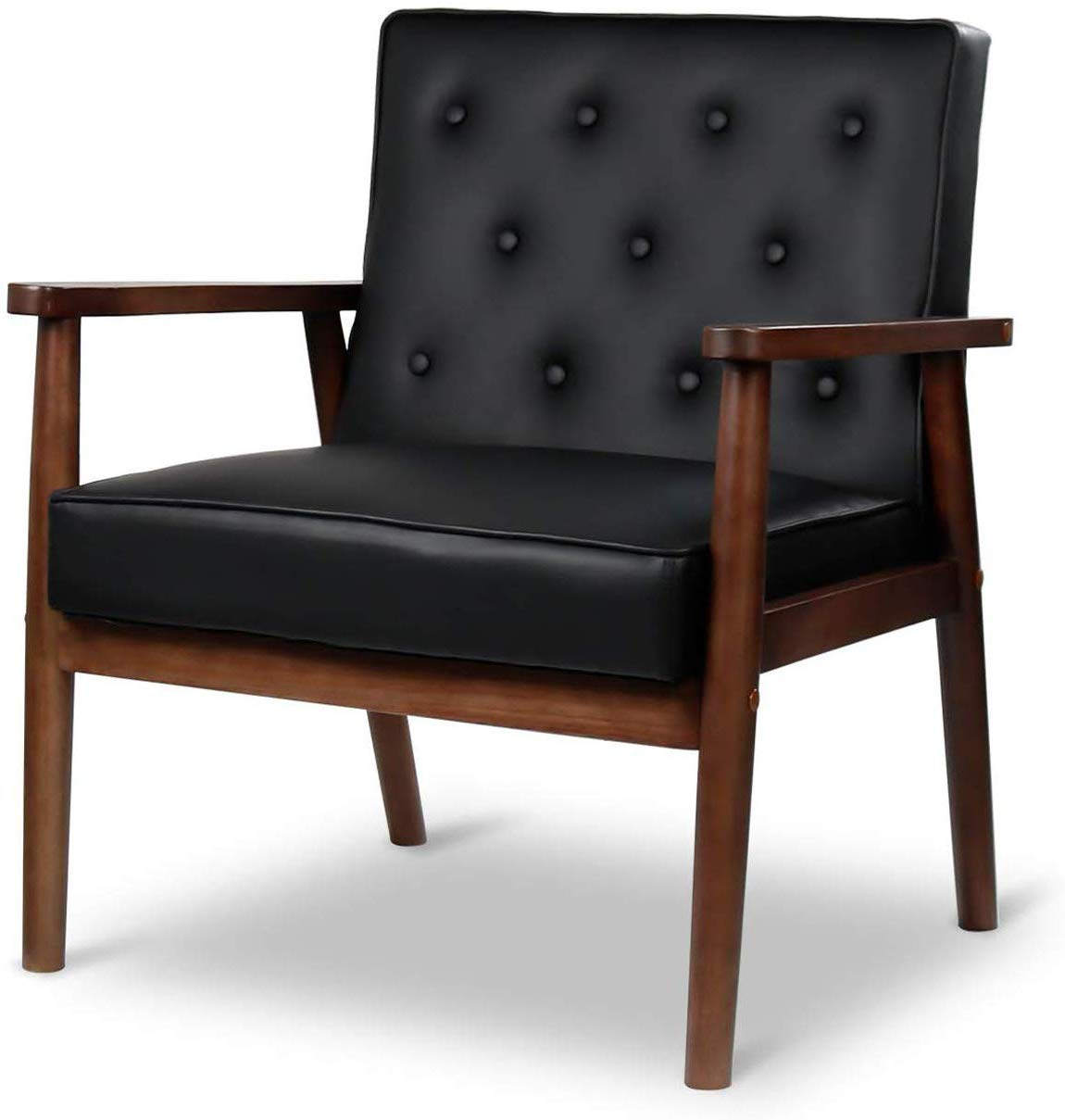 JOYBASE Mid-Century Retro Modern Accent Chair – Wood Frame and PU Leather Upholstered, Arm Chair for Living Room Black