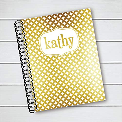 Customized and Personalized Notebook with Color Foil Name and Patterned Background (NB-023-F) ()
