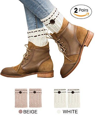 Womens Short Boot Cuffs Cable Knit Leg Warmer Winter Crochet Button Toppers