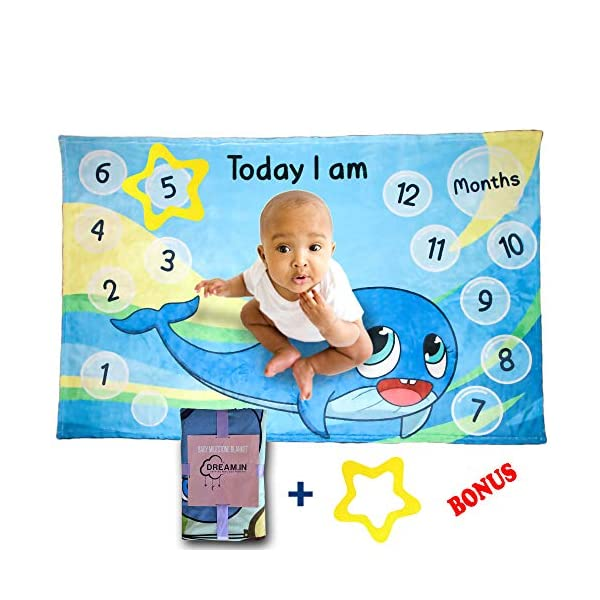 DREAM.IN Baby Milestone Blanket | Minky Soft Fleece Fabric, Boys Girls Unisex | Includes Star Frame | Large 40″ X 60″ Newborn | Photo Background | Photography Props (Whale)