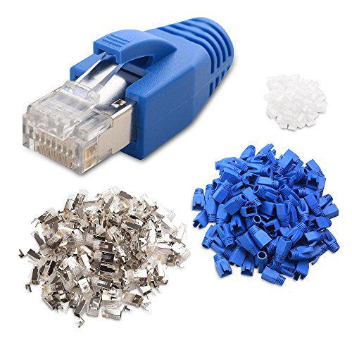 Cable Matters (50-Pack) RJ45 Cat 6A Shielded Modular Plugs with Strain Relief Boots (Network Modular Plug)