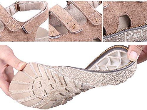 antideslizante 5 de para W al desgaste resistente cuero mujer sandalias velcro 4 suela de beige con H plataforma real cm tacón wx6PZI