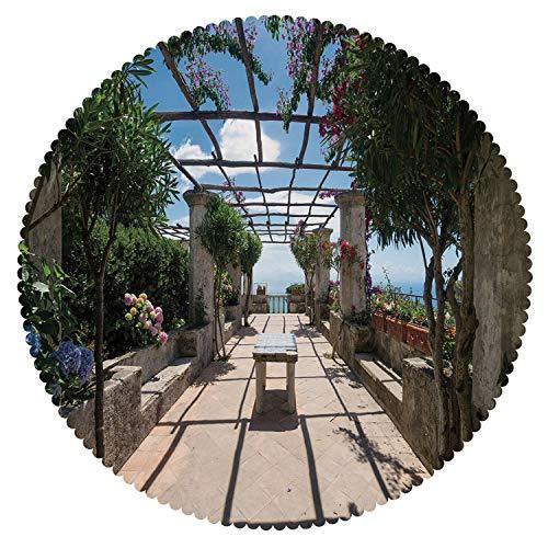 Amalfi Bar Table Outdoor (iPrint Anti-Bacterial Round Tablecloth [ Italian Decor,Beautiful Panorama Villa Rufolo Ravello Amalfi Coast Historical Famous Nature,Multicolor ] Decorative Ideas)