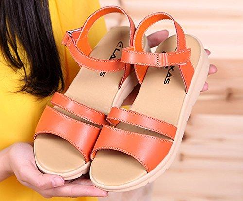 Nouveau Style Femme Mode Bout Orange Sandales Plage Aisun Ouvert xgBpq