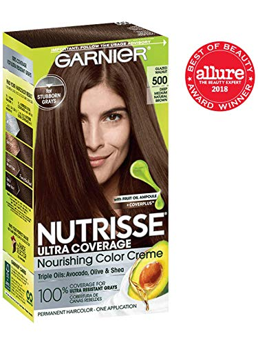 Garnier Nutrisse Ultra Coverage Hair Color, Deep Medium Natural Brown (Glazed Walnut) 500 (Packaging May Vary)