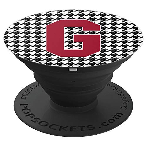 Alabama Monogram - Crimson and Houndstooth Letter G Alabama Monogram Initial - PopSockets Grip and Stand for Phones and Tablets