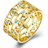 YJEdward Antique Turquoise 925 Silver Ring Plated 18K Gold Child Souvenir Birthday Gift