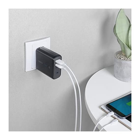 Anker PowerCore Fusion 5000, Portable Charger 5000mAh 2-in-1 with Dual USB Wall Charger, Foldable AC Plug and PowerIQ… 7 The Anker Advantage: Join the 50 million+ powered by America's leading USB charging brand. The Ultimate 2-in-1 Charger: A hybrid high-capacity portable battery and dual-port wall charger in one sleek package. High-Speed Charging: In the wall or on-the-go, Anker's exclusive PowerIQ and VoltageBoost technologies ensure that all devices receive their fastest possible charge. Does not support Qualcomm Quick Charge.