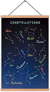 Colorful Constellation Art Print,With With Wood Magnetic Poster Hanger Frame,Abstract Zodiac Sign Canvas Poster Hanging Wall Art,Star Chart Canvas Artwork For Kids bedroom,Nursery Decor