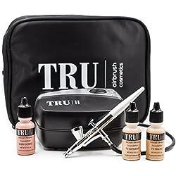 TRU Airbrush Cosmetics Mineral Makeup System Basic Kit- Light/Medium skin tone 5 piece makeup kit with FREE travel bag