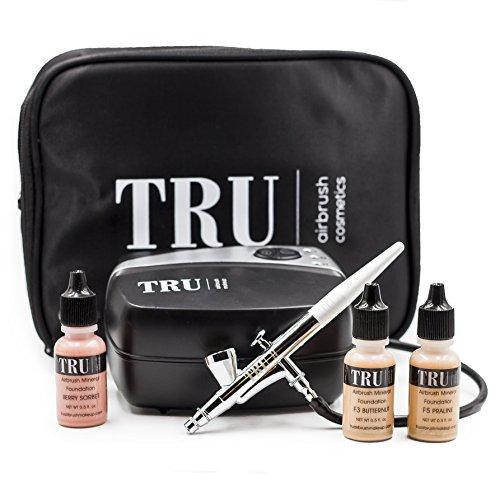 TRU Airbrush Cosmetics Mineral Makeup System Basic Kit- Light/Medium skin tone 5 piece makeup kit