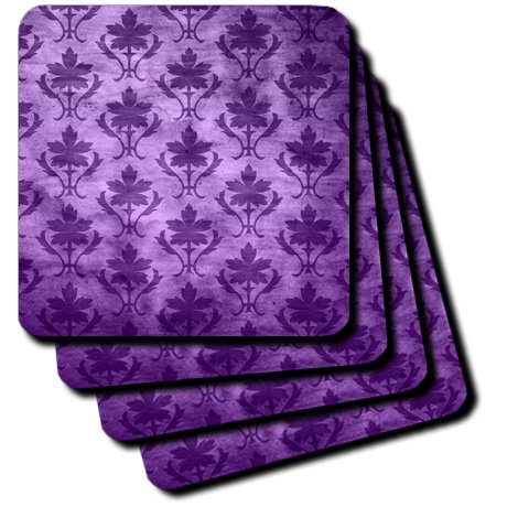 3dRose cst_30058_3 Vintage Wallpaper Pattern Purple Ceramic Tile Coasters, Set of 4