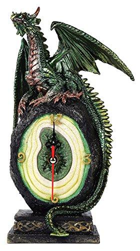 - Pacific Giftware Green Dragon on Malachite Gemstone Quartz Desktop Clock Fantasy Collectible 10 Inch H