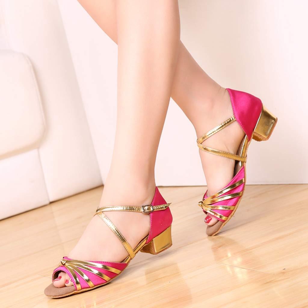 YAGYG Jazz Salsa Lyrical Ballroom Dance Shoes for Women Little Girls Kids Low Heel-612