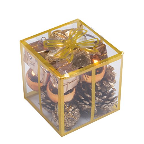 24pcs Christmas Balls Ornament Shatterproof Pendants for Holiday Xmas Garden Decorations (Gold A)